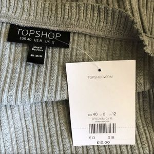 Topshop Tops - Topshop ribbed Crop Gray cami tank top ruffle trim